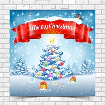 Sfondo di natale e capodanno con albero, regali, nastro, fiocchi di neve e ciuffolotto. buon natale poster sulla struttura del muro di mattoni. modello per flyer, biglietto di auguri