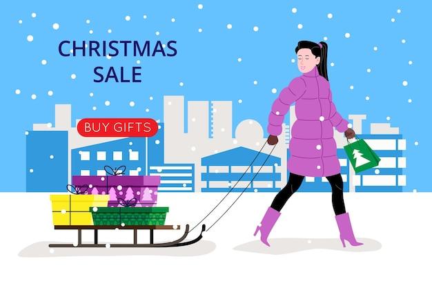Banner di natale e capodanno per la pagina di destinazione o il sito web del negozio online. la ragazza va a fare la spesa dai saldi di natale e porta i regali acquistati sulla slitta. immagine piatta vettoriale carino.
