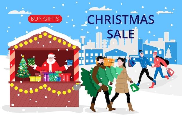 Banner di natale e capodanno per la pagina di destinazione o il sito web del negozio online. uomini e donne comprano regali e un albero di natale alla fiera. immagine piatta vettoriale carino.