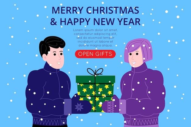 Modello di banner di natale e capodanno per la pagina di destinazione o il sito web del negozio online. un ragazzo e una ragazza in abiti invernali si scambiano regali, sullo sfondo nevica. immagine piatta vettoriale carino.