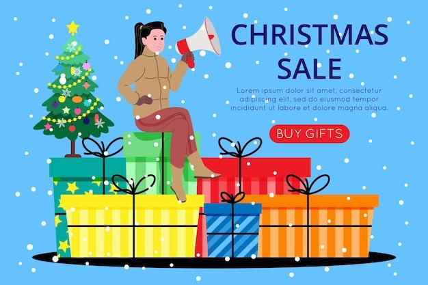 Modello di banner di natale e capodanno per la pagina di destinazione o il sito web del negozio online. una ragazza seduta su scatole vicino a un albero di natale chiama attraverso un megafono per comprare dei regali. immagine piatta vettoriale carino.