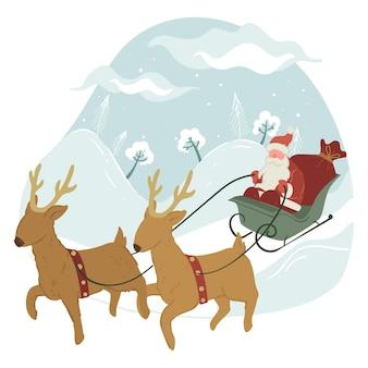 Celebrazione di natale e capodanno, babbo natale in slitta con le renne. cervi con nonno gelo sulla slitta. vacanze di natale e celebrazione del tradizionale evento invernale. vettore in stile piatto