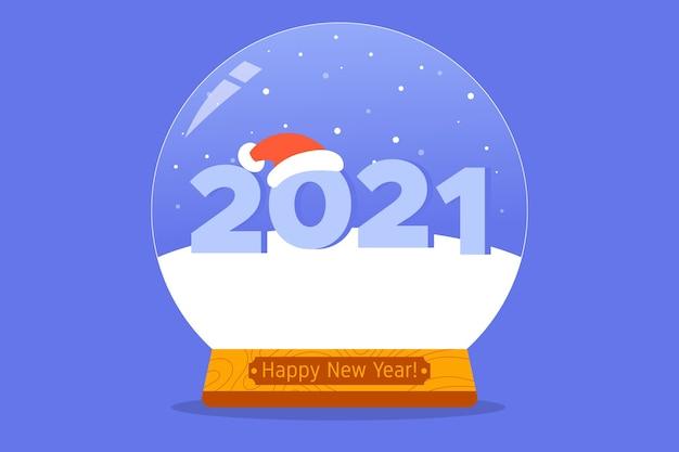 Concetto di natale e capodanno con numero nel globo di neve con cappello santa