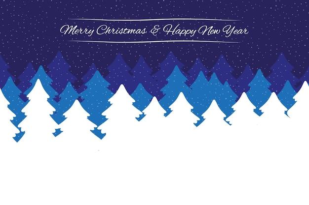 Natale e capodanno elegante sfondo della foresta invernale di notte con abeti e neve che cade. illustrazione vettoriale per sito web o biglietto di auguri.