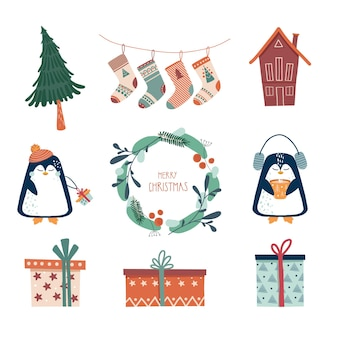 Elementi di natale e capodanno illustrazione di un albero di natale calzini ghirlanda regalo casa pinguino