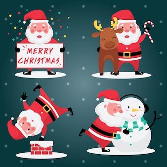 La raccolta festiva di natale e capodanno include un set di immagini di babbo natale con renne e pupazzo di neve su uno sfondo azzurro