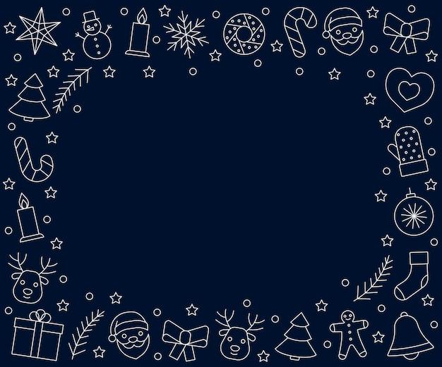 Natale e capodanno cornice icone linea bianca su sfondo blu scuro saluto natale