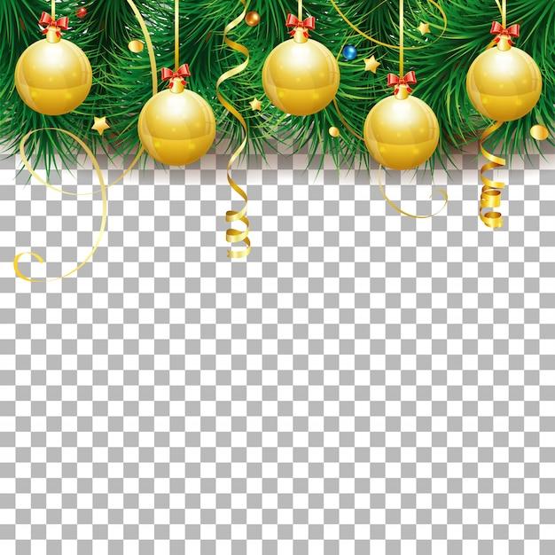 Cornice di natale e capodanno con palline, rami di abete e stelle filanti d'oro.