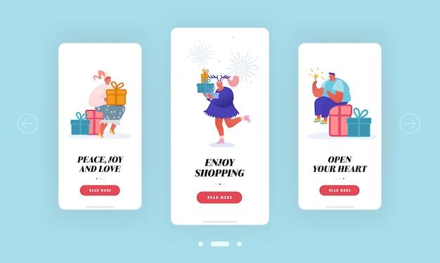 Regali di natale capodanno, schermo di bordo della pagina dell'app mobile di vendita