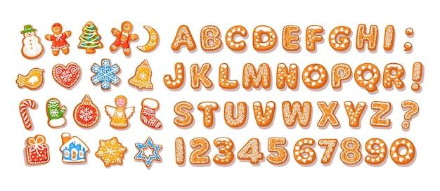 Alfabeto di pan di zenzero di natale e capodanno e biscotti tradizionali per le feste