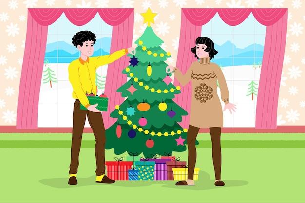 Natale e capodanno. una ragazza e un ragazzo o una giovane coppia di sposi decorano un albero di natale a casa prima delle vacanze. illustrazione per la pagina di destinazione o il sito web del negozio online. immagine piatta vettoriale carino.
