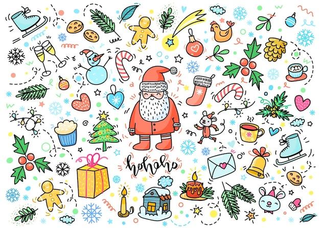 Biglietto di auguri di natale e capodanno. babbo natale disegnato a mano con decorazioni di capodanno. illustrazione vettoriale di scarabocchio.