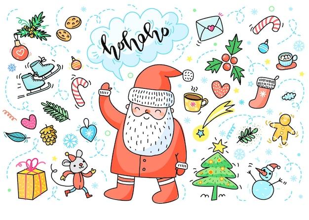 Biglietto di auguri di natale e capodanno. babbo natale disegnato a mano con decorazioni di capodanno e scritte ho-ho-ho. illustrazione vettoriale di scarabocchio.