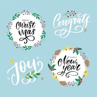Natale, auguri di capodanno insieme. slogan scritto a mano