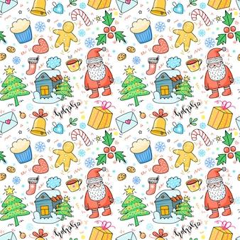 Natale e capodanno reticolo senza giunte disegnato a mano con regalo dell'albero di natale e babbo natale