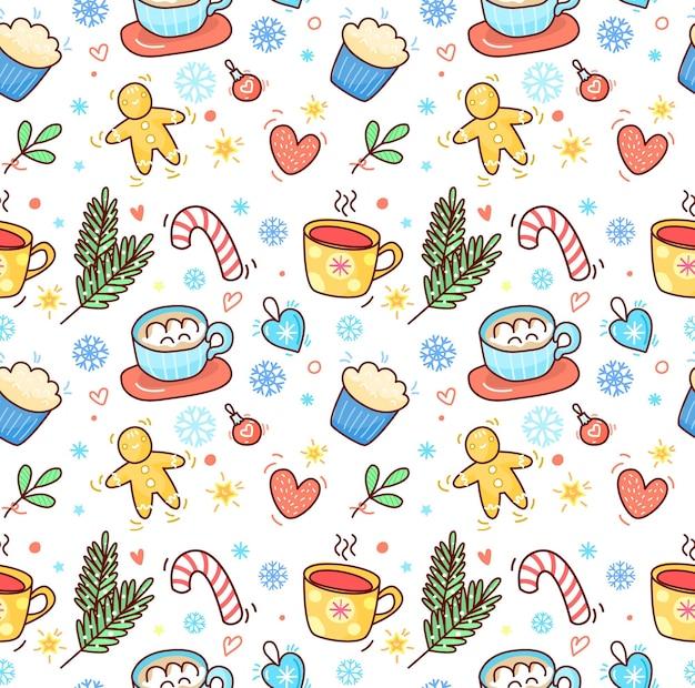Natale e capodanno reticolo senza giunte disegnato a mano con una tazza di tè e cacao