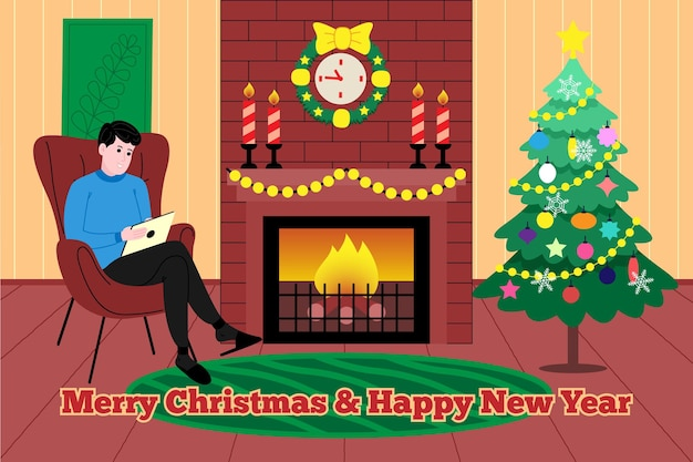 Natale e capodanno. un uomo si siede accanto a un caminetto caldo con un fuoco ardente e guarda un tablet la vigilia di capodanno. illustrazione per la pagina di destinazione o il sito web di un negozio online. immagine piatta vettoriale carino.