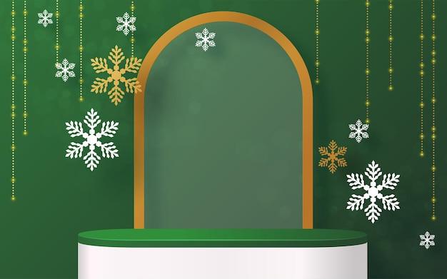 Natale e capodanno podio sfondo vettoriale design prodotti 3d o mostra display di prodotti cosmetici. piedistallo o piattaforma del palco. inverno natale sfondo rosso.