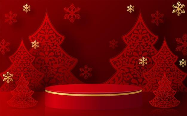 Natale e capodanno podio sfondo vettoriale design prodotti 3d