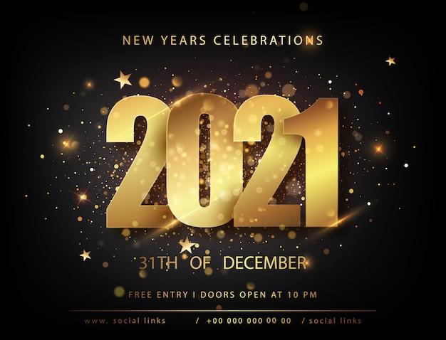 Manifesti di natale e capodanno con numeri 2021. inviti per le vacanze invernali