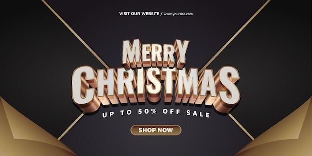 Banner di vendita di natale e capodanno con testo in oro
