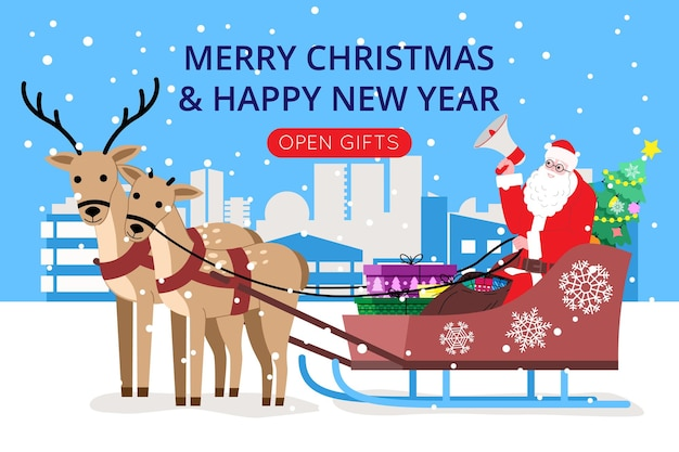 Natale e capodanno. babbo natale chiama per ricevere regali mentre è seduto su una slitta con renne bardate. illustrazione per la pagina di destinazione o il sito web di un negozio online. simpatico vettore piatto.