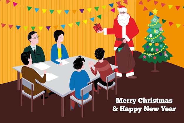 Natale e capodanno. babbo natale si congratula con i dipendenti dell'azienda seduti al tavolo in ufficio e fa loro dei regali. immagine vettoriale carino.