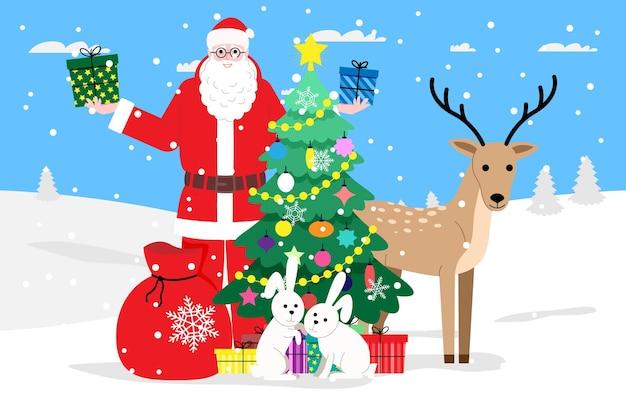 Natale e capodanno. babbo natale distribuisce regali nella foresta vicino all'albero di natale insieme a cervi e lepri. illustrazione per la pagina di destinazione o il sito web del negozio online. immagine piatta vettoriale carino.