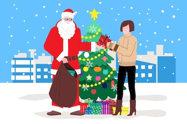 Natale e capodanno. babbo natale vicino all'albero di natale fa regali alla ragazza, sullo sfondo nevica. illustrazione per la pagina di destinazione o il sito web del negozio online. immagine piatta vettoriale carino.