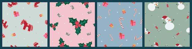 Set di modelli senza cuciture di natale e capodanno: cavallo rosso, scatole regalo, pupazzo di neve, petardo, vischio, caramelle e scritte: ho-ho-ho!. illustrazione vettoriale disegnato a mano, stile doodle. sfondo di design moderno.