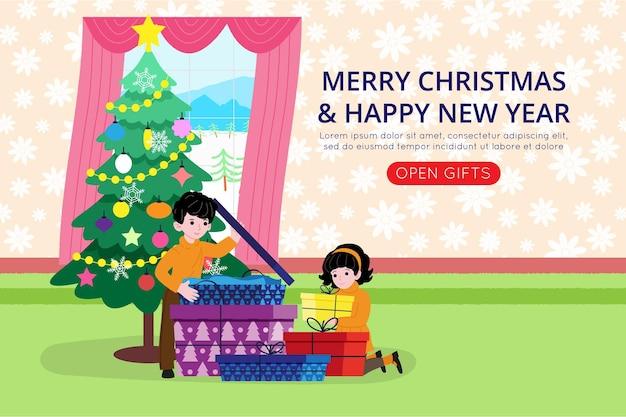 Natale e capodanno. i bambini piccoli aprono i regali ricevuti per le vacanze. illustrazione per pagina di destinazione o sito web del negozio online o cartolina e banner. immagine piatta vettoriale carino.