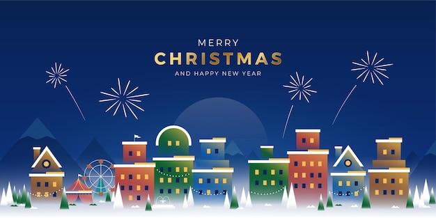 Natale e capodanno nel banner dell'illustrazione della città innevata