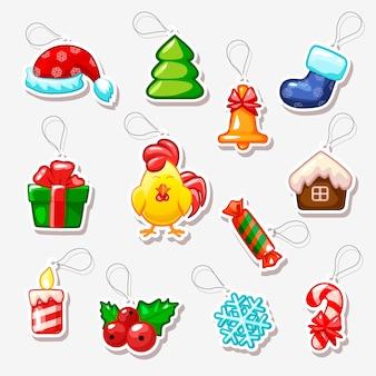 Adesivi di natale e capodanno, simboli festivi
