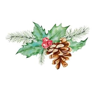 Bacca di agrifoglio decorativo simbolo di natale e capodanno con composizione di pigna e ramo. illustrazione disegnata a mano dell'acquerello, isolato su priorità bassa bianca