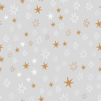 Reticolo senza giunte disegnato a mano scandinavo della stella di simboli del nuovo anno e di natale. stampa carina vettoriale. carta digitale. elemento di design.
