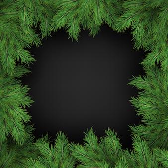 Modello di natale e capodanno di rami realistici dell'albero di natale su sfondo nero.