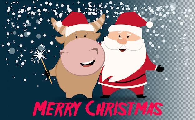 Albero di natale o capodanno. simpatico bue, mucca, toro. 2021 sfondo invernale con mucca. segno di oroscopo bue. anno cinese del bue 2021. felice anno nuovo.