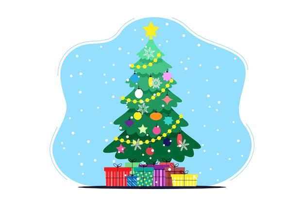 Albero di natale e capodanno decorato con giocattoli, palline e ghirlande con regali colorati e neve su sfondo blu. immagine piatta vettoriale carino. sfondo per landing page o sito web