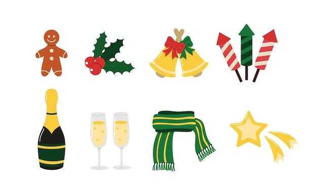 Set di elementi vettoriali di natale e capodanno accessori invernali per la celebrazione