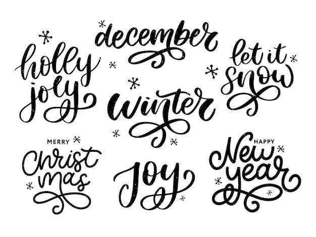Natale, capodanno, set di calligrafia di auguri invernali