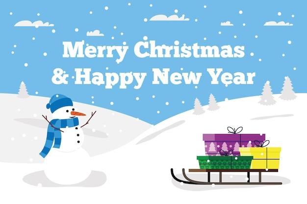 Regali di natale e capodanno su una slitta e un allegro pupazzo di neve e neve su sfondo blu. immagine piatta vettoriale per cartolina, sfondo per landing page