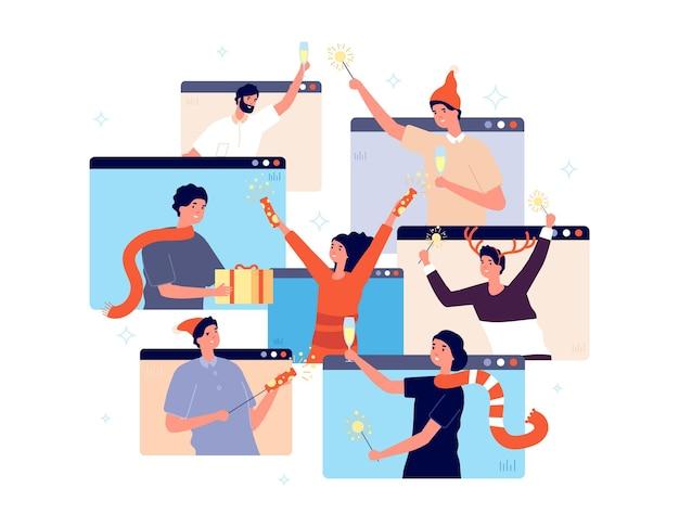 Festa di natale online. persone che festeggiano il nuovo anno, amici felici in video chat. uomo donna con champagne coriandoli regalo illustrazione vettoriale. celebrazione della festa online, la gente chiama e festeggia