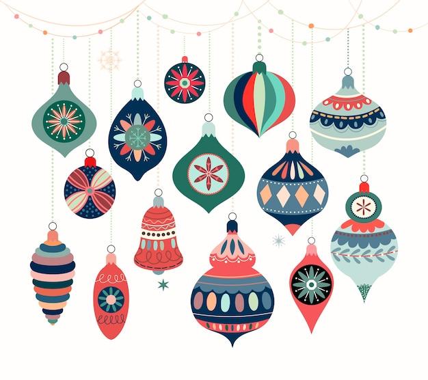 Collezione di ornamenti natalizi con palle di natale decorative