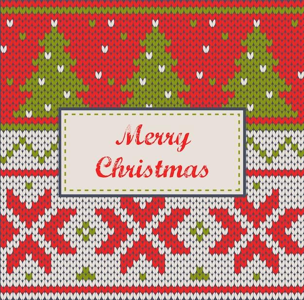 Ornamenti di natale - cartolina d'auguri lavorata a maglia senza cuciture