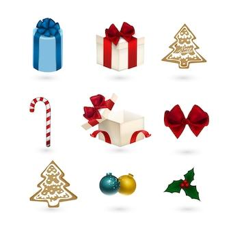 Set di ornamenti di natale isolato su bianco