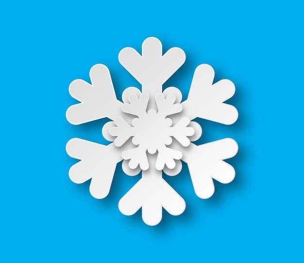 Fiocco di neve tagliato carta di natale con ombra.