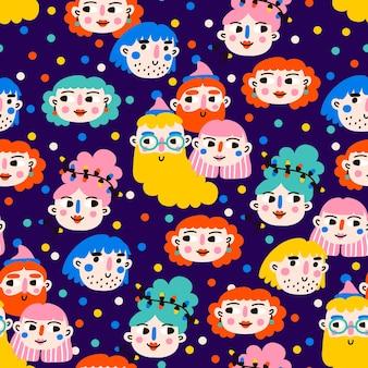 Festa di natale ragazzi e ragazze caratteri seamless pattern
