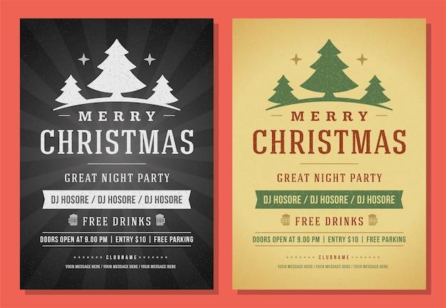 Festa di natale flyer invito retrò tipografia ed elementi di decorazione vacanze poster design