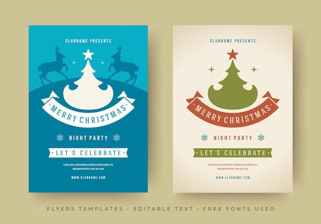 Modelli di manifesti di volantini per feste di natale con font modificabili design tipografico vintage retrò