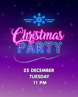 Invito alla festa di natale. insegna al neon incandescente. manifesto di vettore. testo luminoso con segno di fiocco di neve al neon